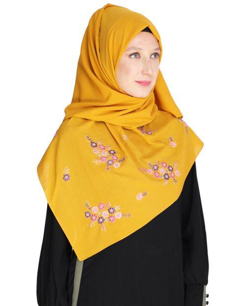 Floral bootis Mustard Hijab