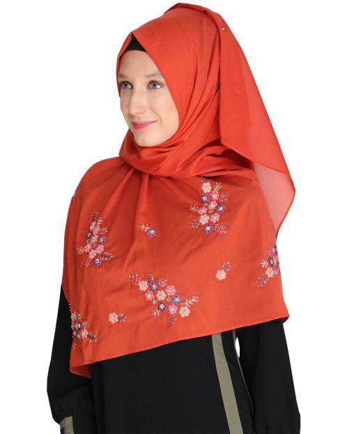 Floral bootis Brick Red Hijab