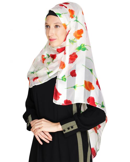 Floral White&Red Printed Hijab