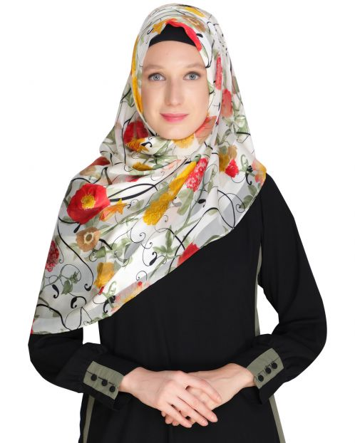 Floral White& Yellow Printed Hijab