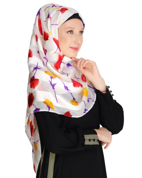 Floral White&Purple Printed Hijab
