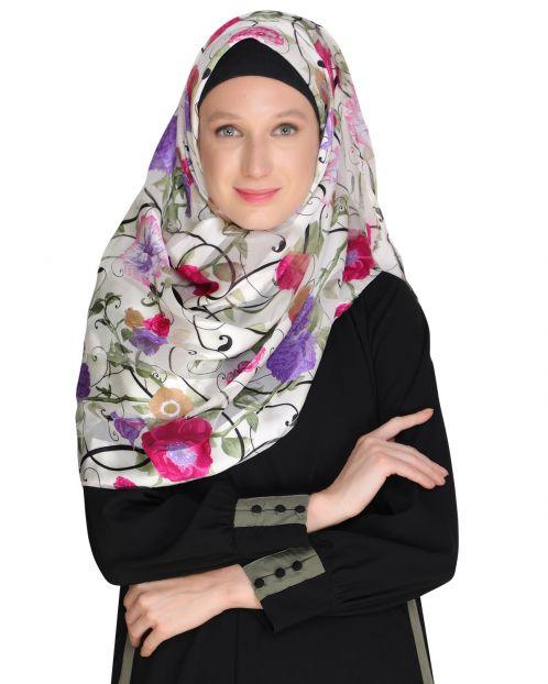 Floral White&Pink Printed Hijab