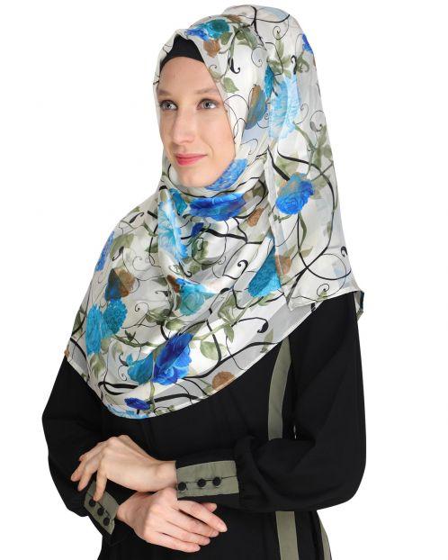 Floral White&Blue Printed Hijab