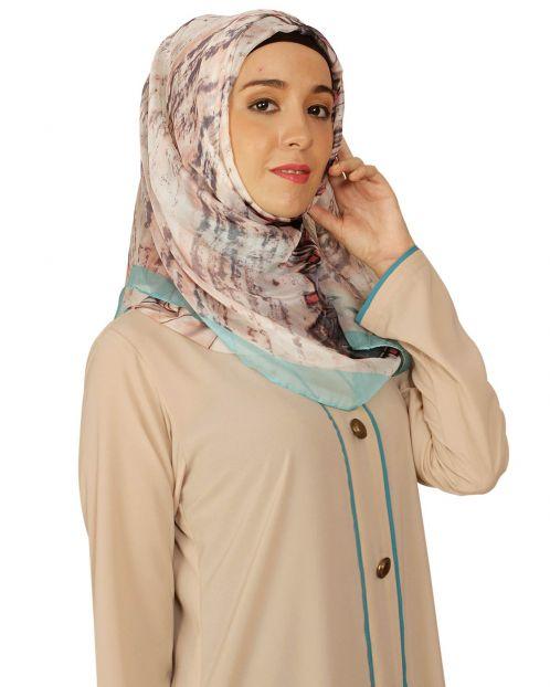 Green Abstract Print Silk Hijab