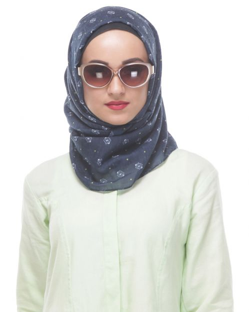 Navy Blue Printed Casual Hijab