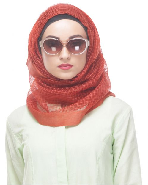 Rust shaded formal Net-tissue Hijab