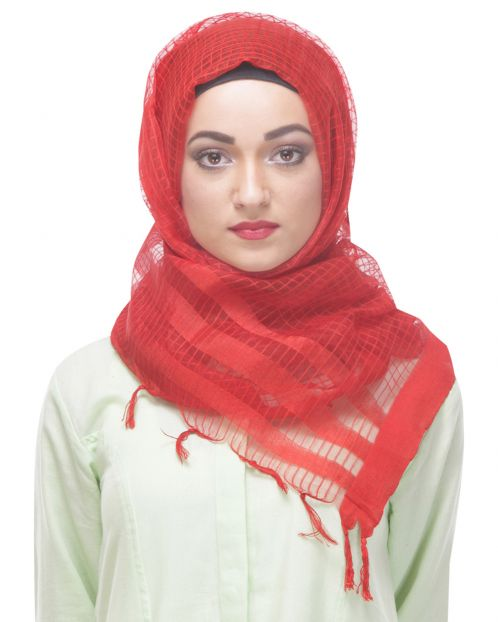 Brick colored Net-tissue formal Hijab