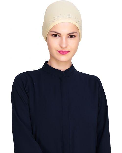 Yellow Stone Work Hijab Cap