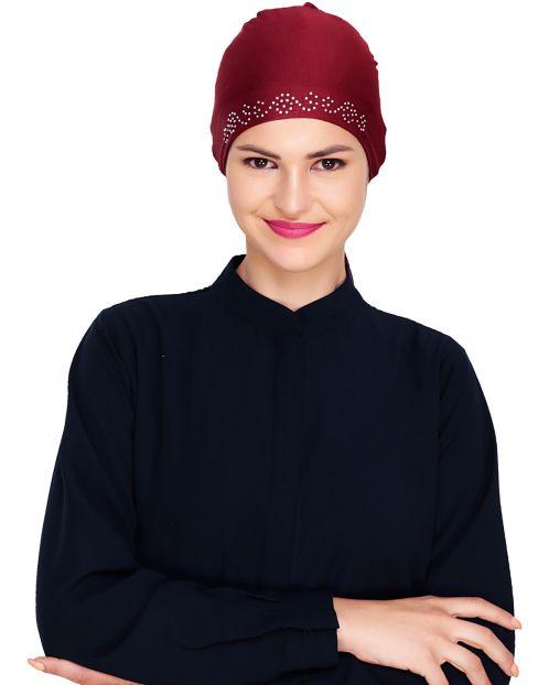 Maroon Stone Work Hijab Cap