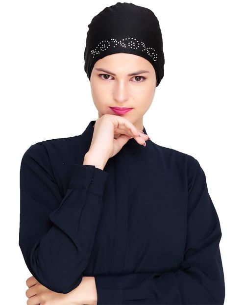 Black Stone Work Hijab Cap