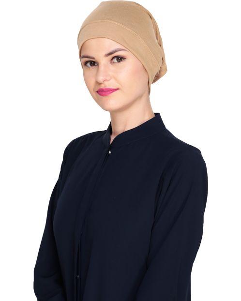 Beige Plain Hijab Cap