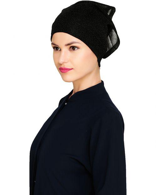 Black Shimmer Hijab Cap