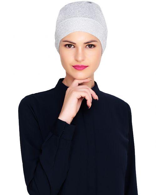 Silver Shimmer Hijab Cap