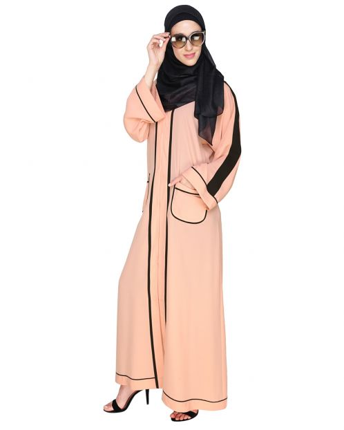 Pocket Dubai Style Abaya with detailing