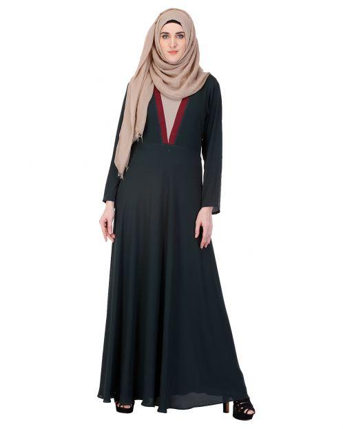 Moss green long Maxi Style Abaya