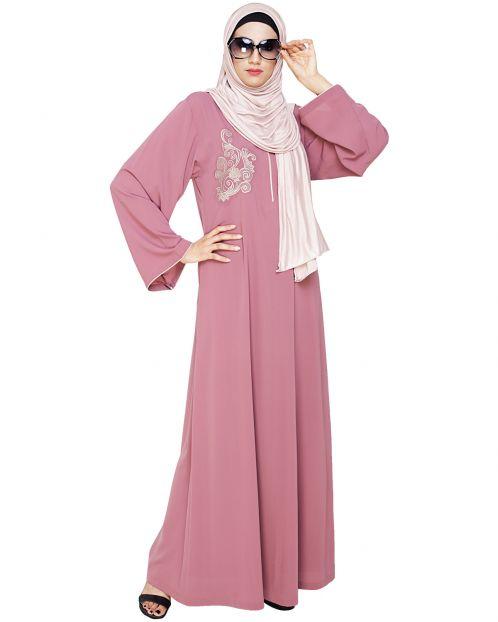 Resham Ornate Onion Pink Dubai Style Abaya
