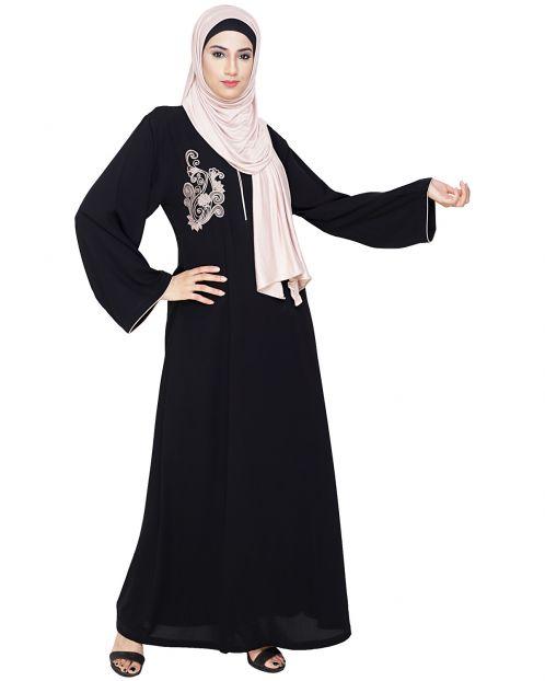 Resham Ornate Black Dubai Style Abaya