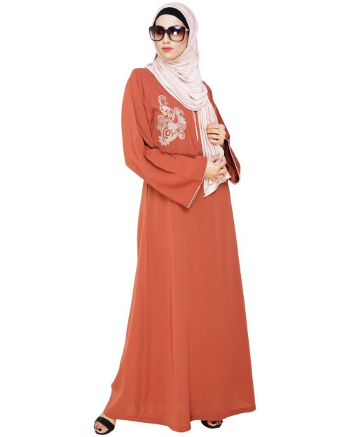 Resham Ornate Brick Red Dubai Style Abaya