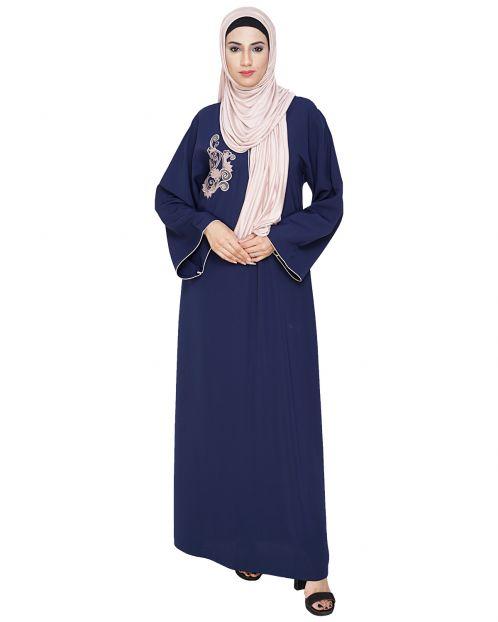 Resham Ornate Blue Dubai Style Abaya