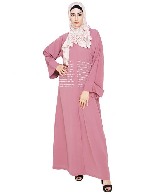 Jazzy Embroidered Onion Pink Dubai Style Abaya