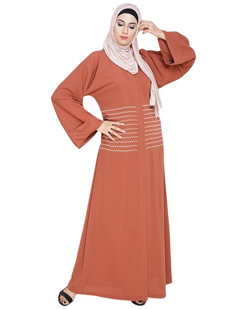 Jazzy Embroidered Brick Red Dubai Style Abaya
