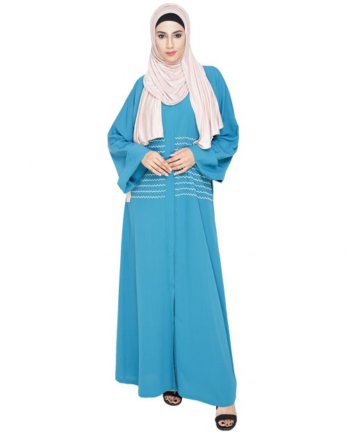 Jazzy Embroidered Teal Blue Dubai Style Abaya