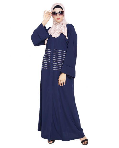 Jazzy Embroidered Blue Dubai Style Abaya