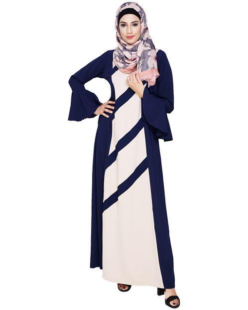 Flouncy Sleeve Blue Dubai style Abaya