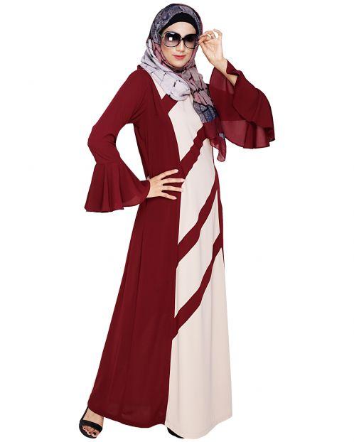 Flouncy Sleeve Wine Dubai style Abaya