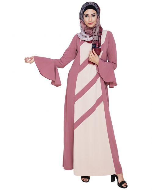 Flouncy Sleeve Onion Pink Dubai style Abaya