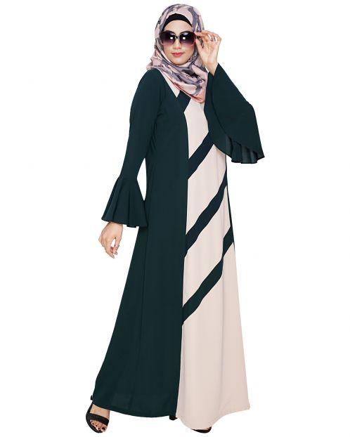 Flouncy Sleeve Bottle Green Dubai style Abaya