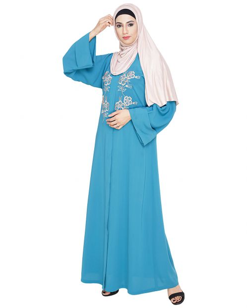 Floweret Embroidered Teal Blue Dubai Style Abaya