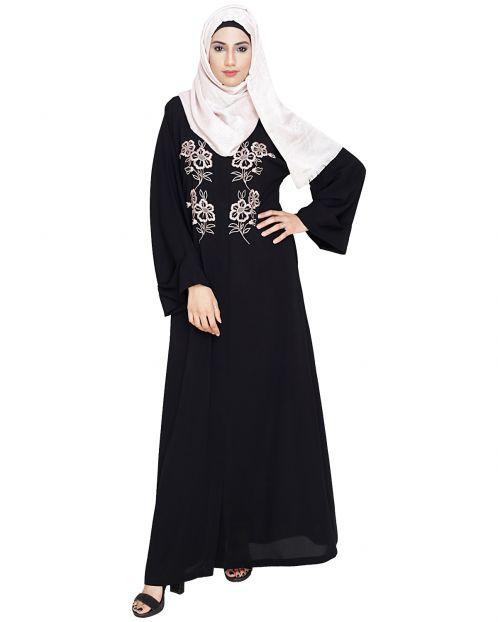 Floweret Embroidered Black Dubai Style Abaya