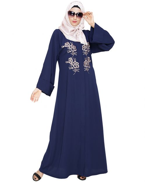 Floweret Embroidered Blue Dubai Style Abaya