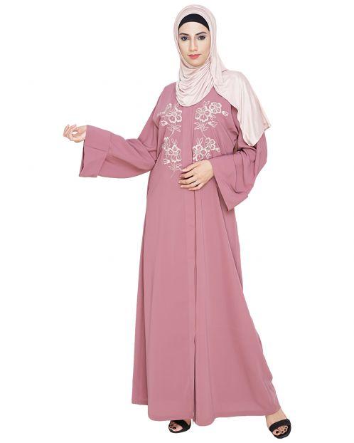 Floweret Embroidered Onion Pink Dubai Style Abaya