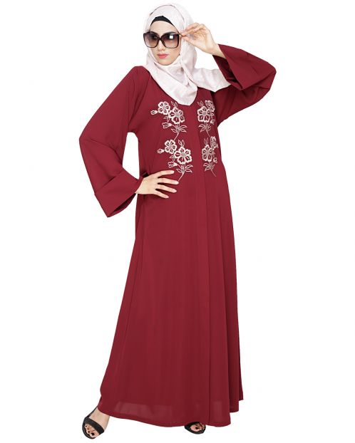 Floweret Embroidered Wine Dubai Style Abaya