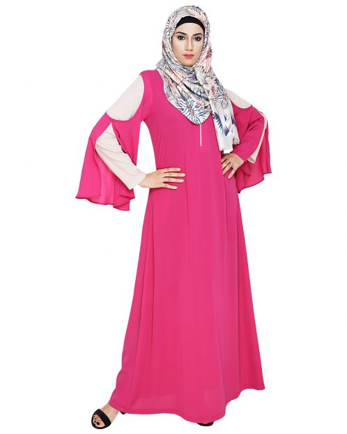 Dora Sleeves Fuschia Abaya