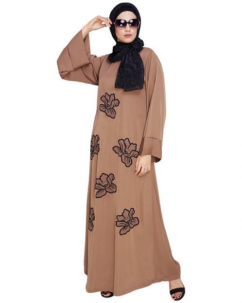 Daisy Dark Beige Dubai style Abaya