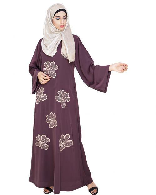 Daisy Dark Purple Dubai style Abaya