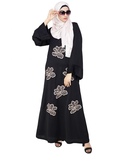 Daisy Black Dubai style Abaya