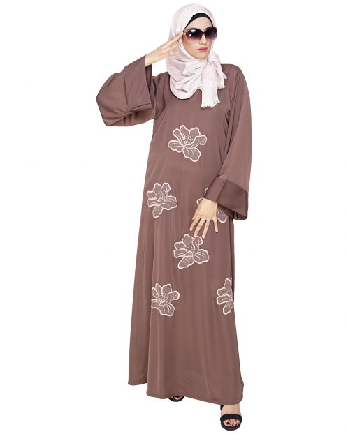 Daisy Daark Beige Dubai style Abaya