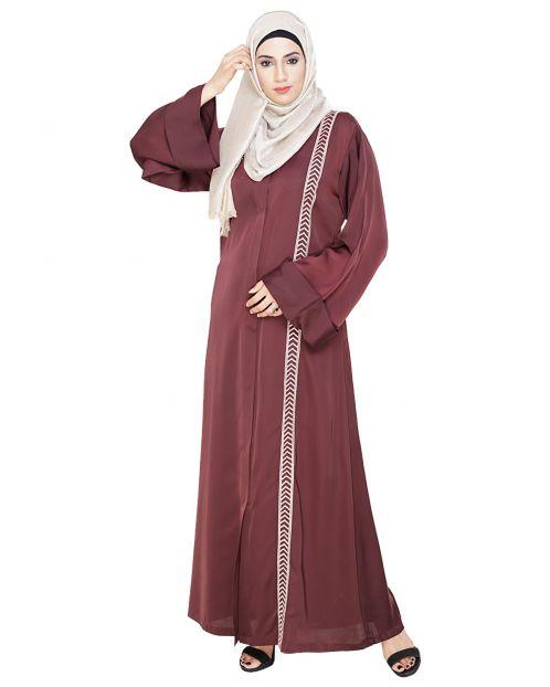 Lofty Deep Wine Dubai Style Abaya