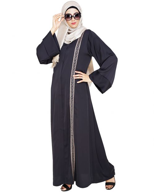 Lofty Dark Grey Dubai Style Abaya
