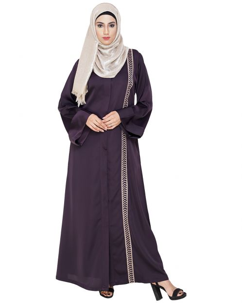 Lofty Dark Purple Dubai Style Abaya
