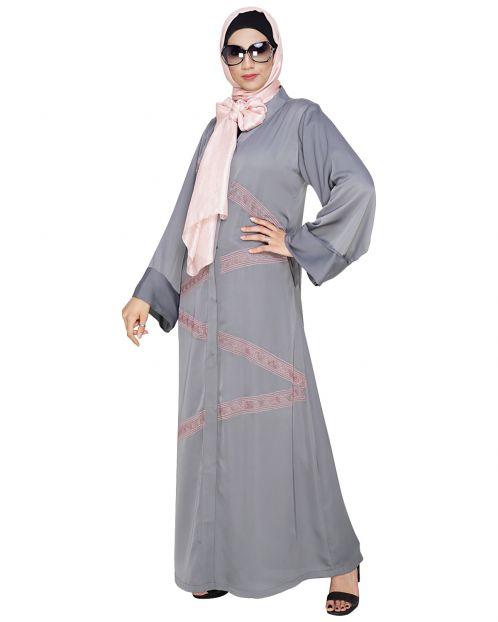 Glinty Grey Dubai Style Abaya