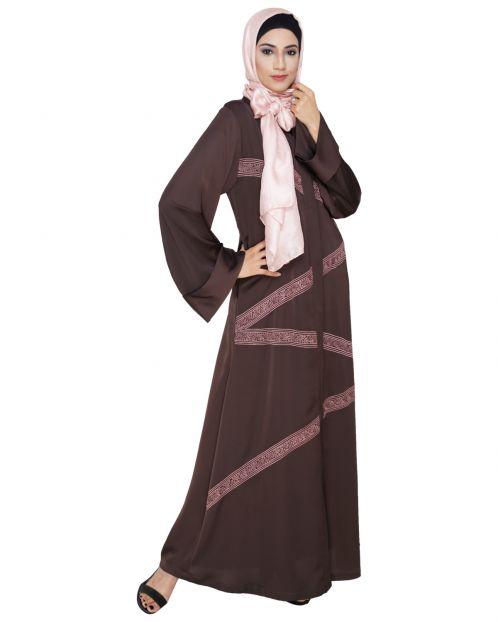 Glinty Dark Brown Dubai Style Abaya