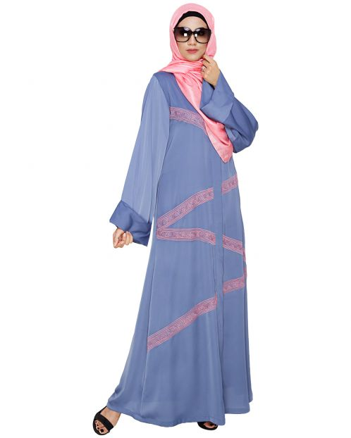 Glinty Steel Blue Dubai Style Abaya