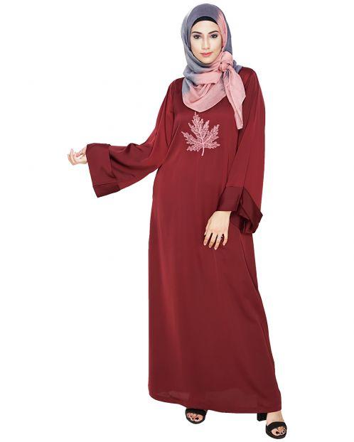 Wispy Wine Dubai Style Abaya