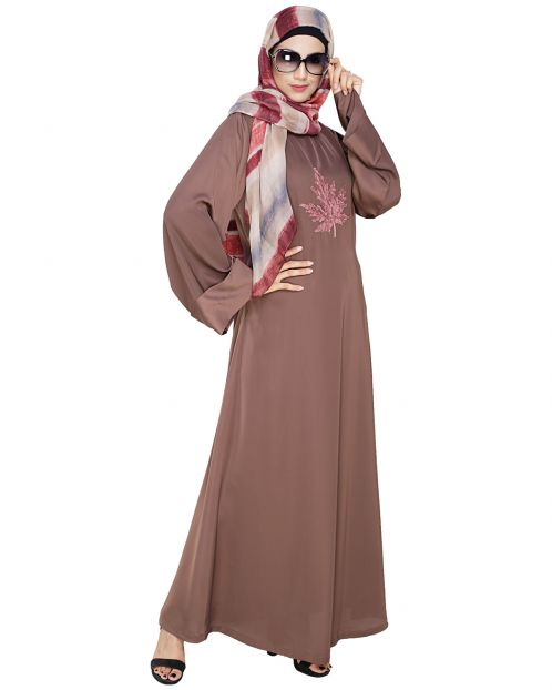 Wispy Coffee Brown Dubai Style Abaya