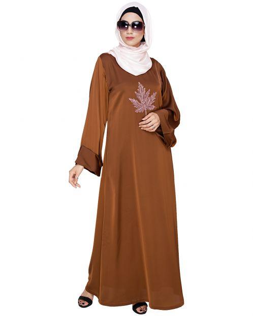 Wispy Tawny Brown Dubai Style Abaya